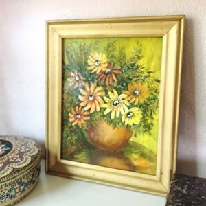 VTG Floral Oil Painting Framed Yellows
